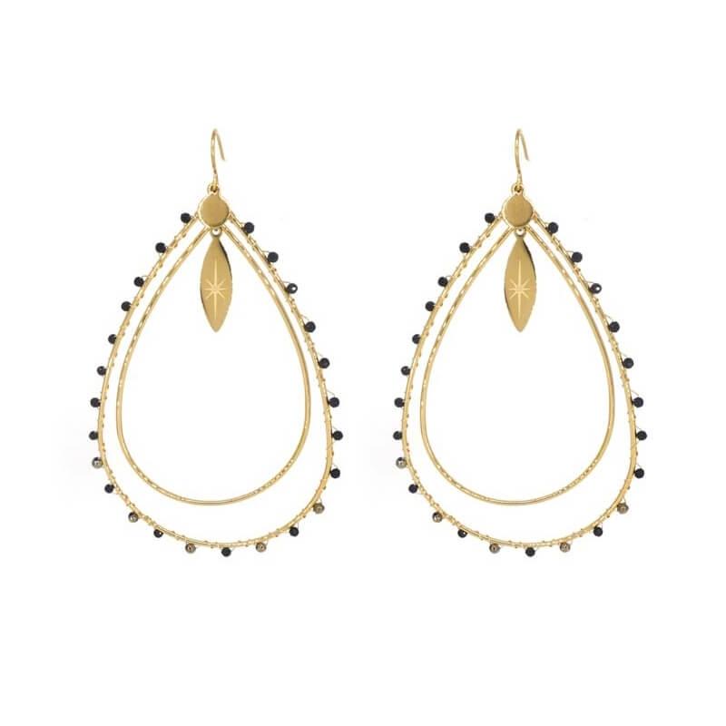 Boucles d'oreilles Aurore noir en acier jaune - Zag Bijoux