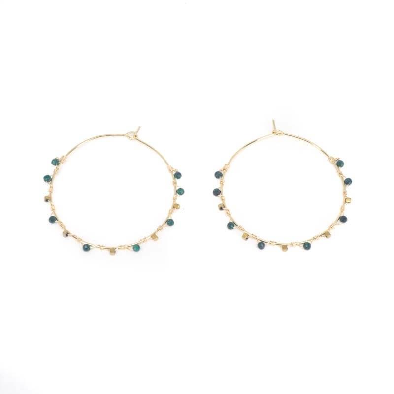 Boucles d'oreilles créoles semi précieuses malachite - Zag Bijoux