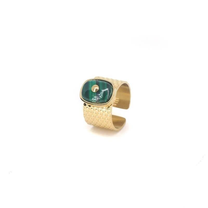 Stone malachite gold ring -...