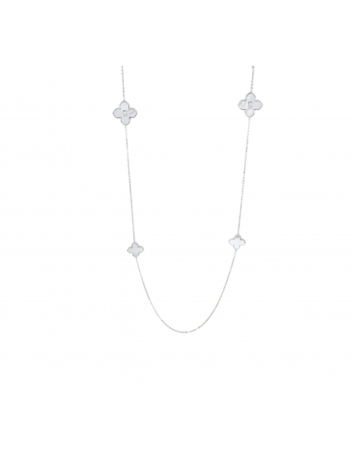 Pearly clover silver long necklace - Zag Bijoux