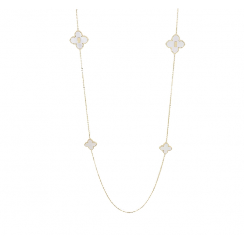 Pearly clover gold long necklace - Zag Bijoux