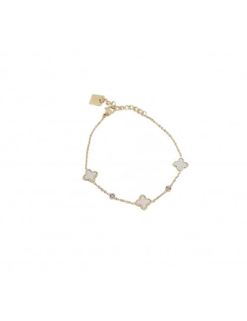 Pearly clovers gold bracelet - Zag Bijoux