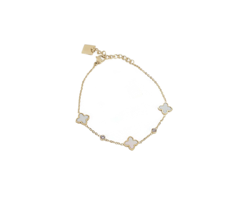 Bracelet trèfle nacré en acier jaune - Zag Bijoux