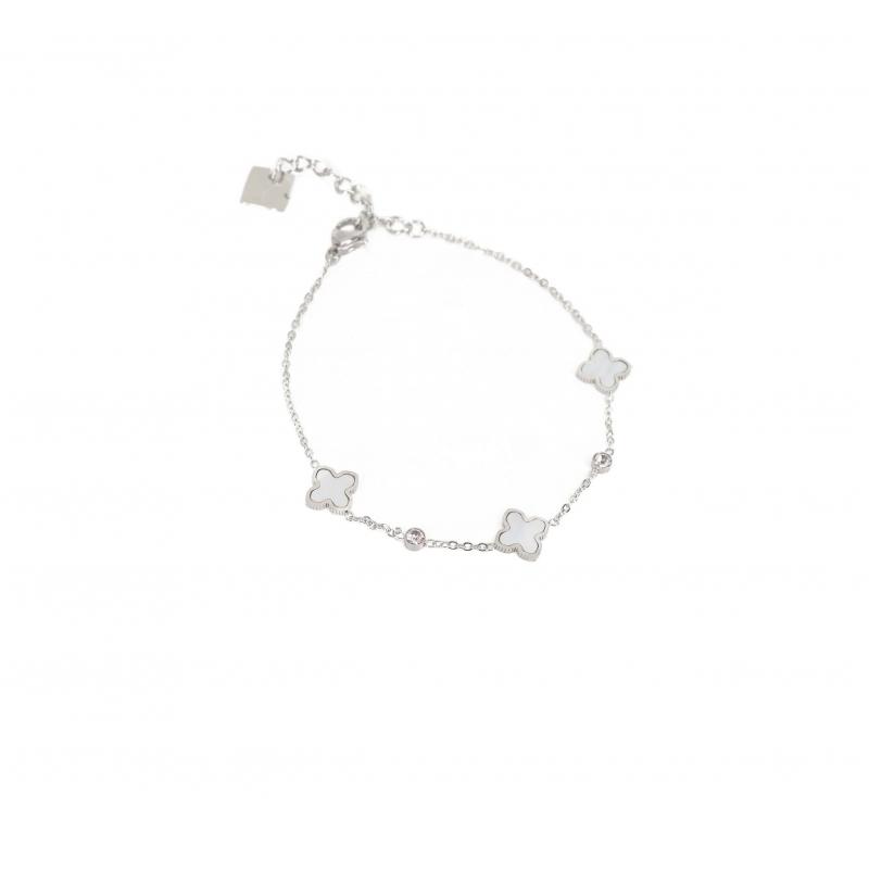 Pearly clovers silver bracelet - Zag Bijoux