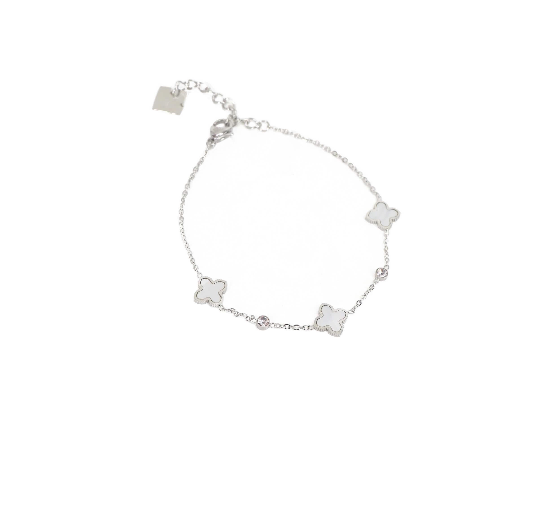 Bracelet trèfle nacré en acier - Zag Bijoux