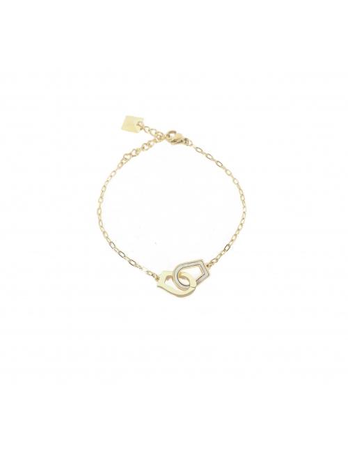 Bracelet menottes nacrées en acier jaune - Zag Bijoux