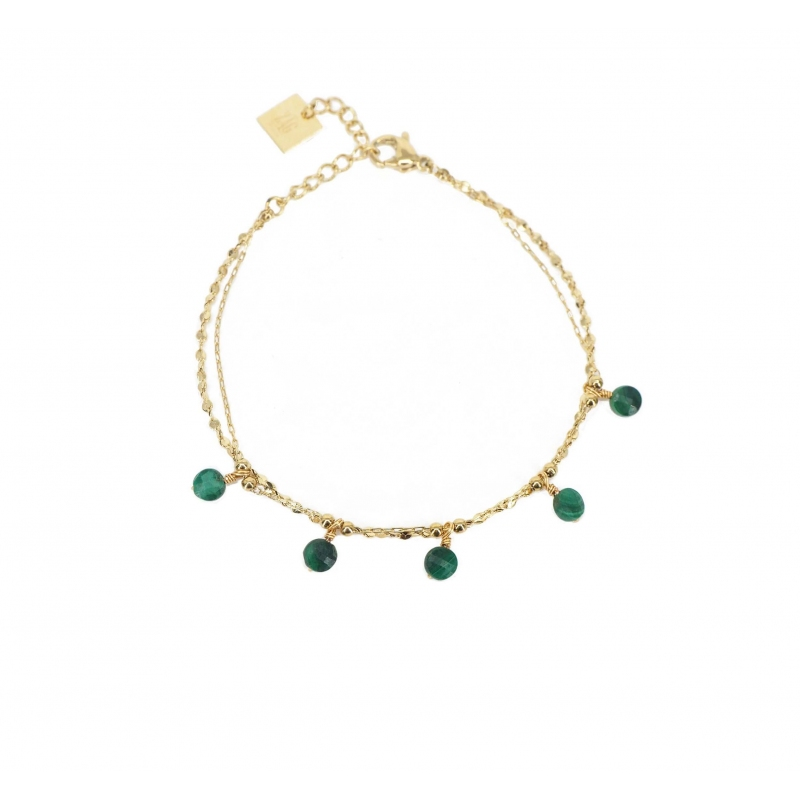 Malachite pearls gold...