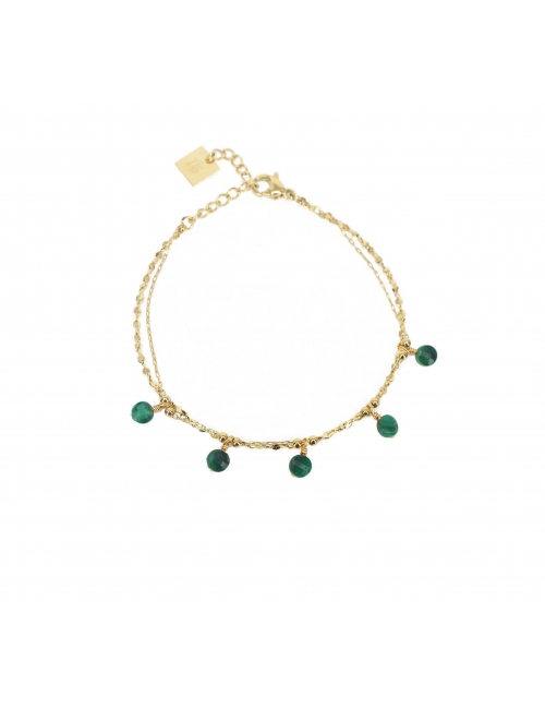 Malachite pearls gold bracelet - Zag Bijoux
