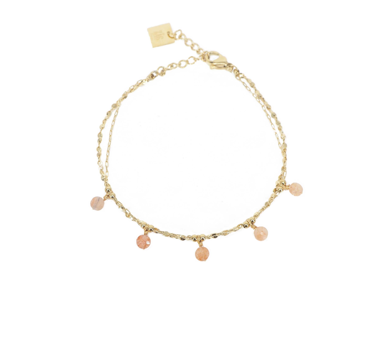 Bracelet perle héliolite en acier jaune - Zag Bijoux