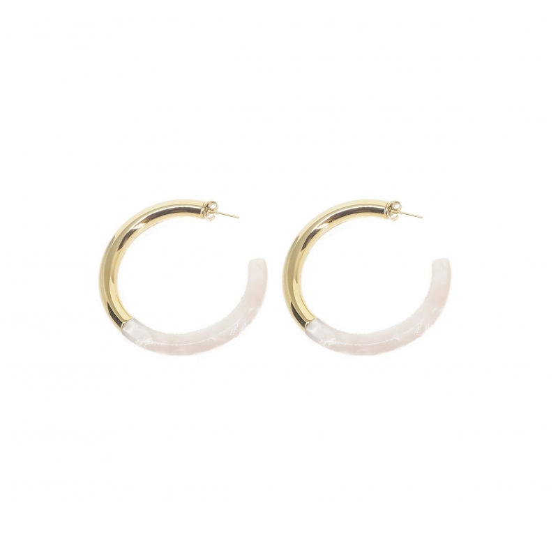 Pearly acetate gold hoop...