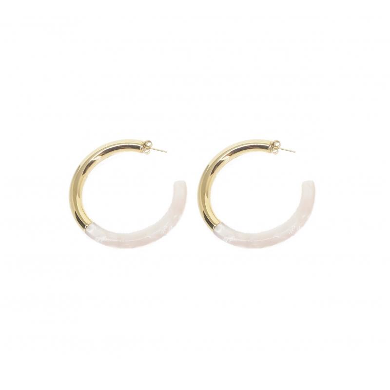 Pearly acetate gold hoop earrings - Zag Bijoux