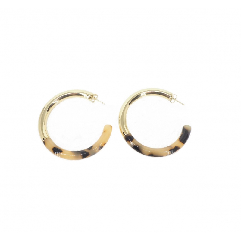 Leopard acetate gold hoop...