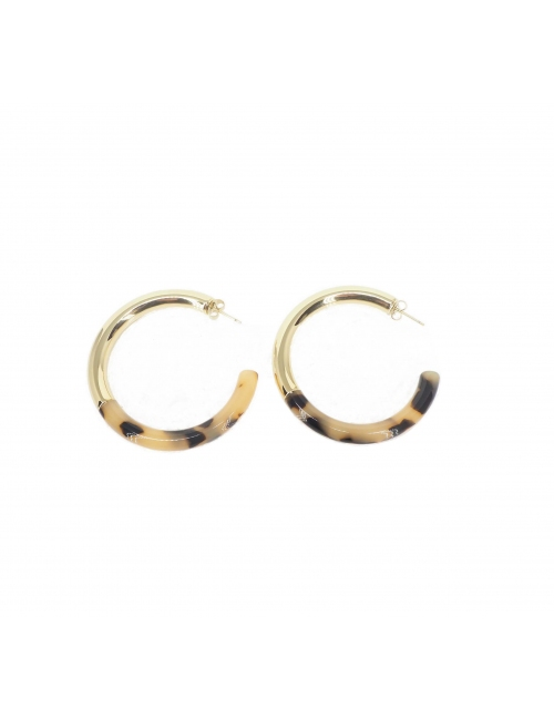 Leopard acetate gold hoop earrings - Zag Bijoux
