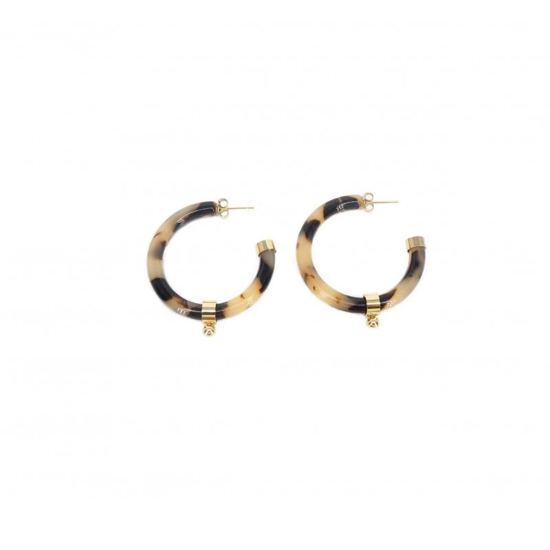 Leopard acetate ball gold hoop earrings - Zag Bijoux