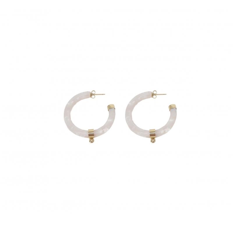 Boucles d'oreilles créoles boule acétate nacrées en acier jaune - Zag Bijoux