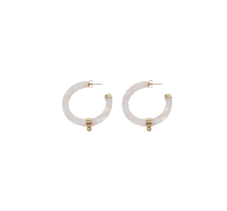 Boucles d'oreilles créoles boule acétate nacrées - Zag Bijoux