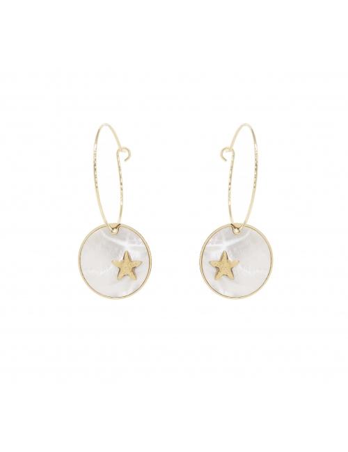 Pearly star pastille gold hoop earrings - Zag Bijoux
