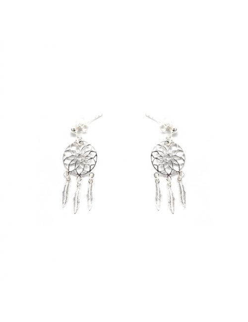 Dream catcher silver earrings - Pomme Cannelle