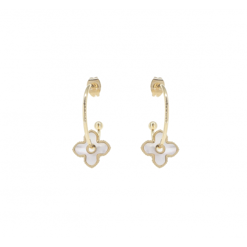 Pearly clover gold hoop...