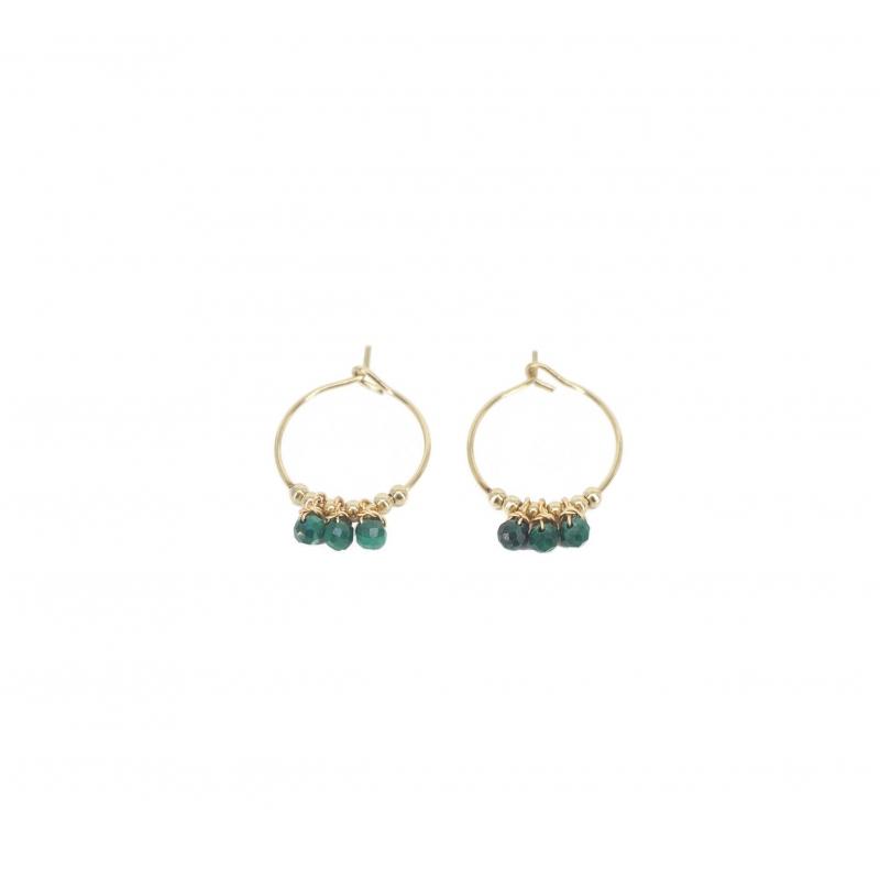 Boucles d'oreilles mini créoles pampilles malachite en acier jaune - Zag Bijoux