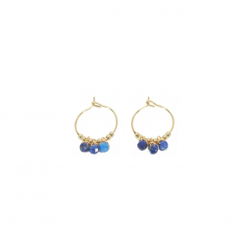 Lapis lazuli mini gold hoop...