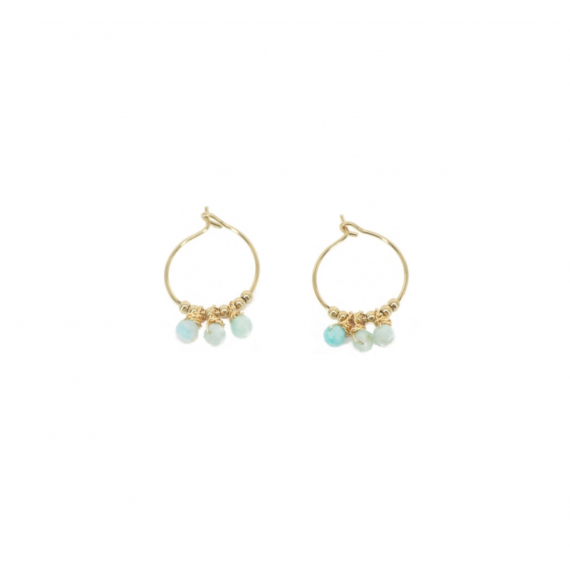 Amazonite mini gold hoop earrings - Zag Bijoux
