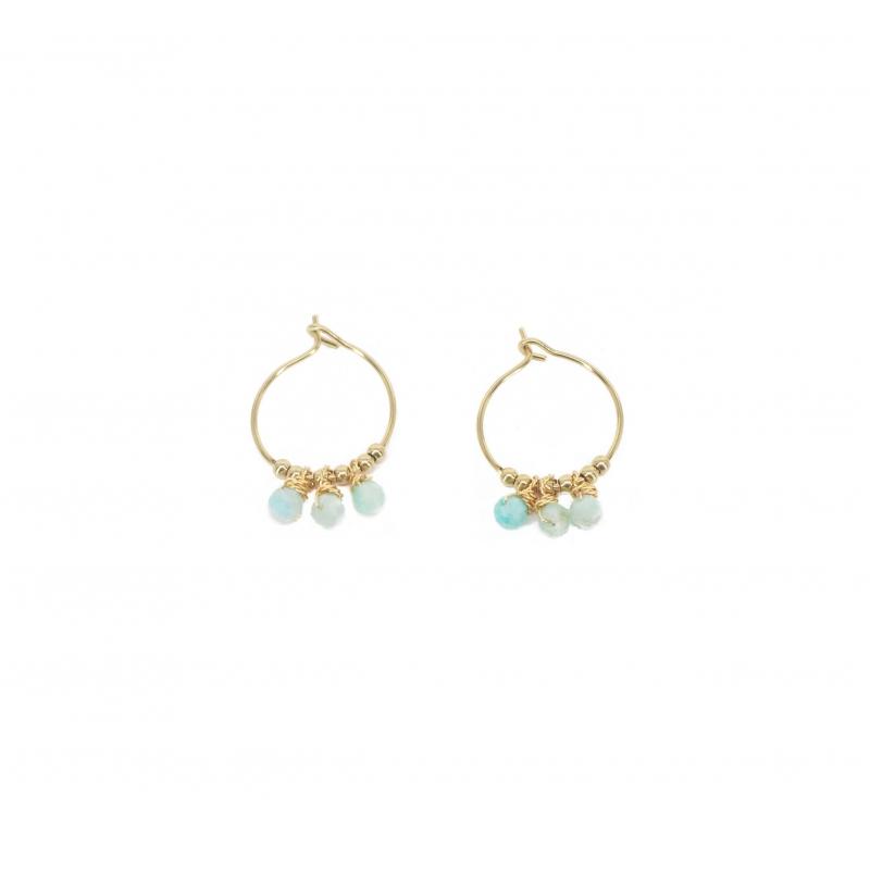 Boucles d'oreilles mini créoles pampilles amazonite en acier jaune - Zag Bijoux