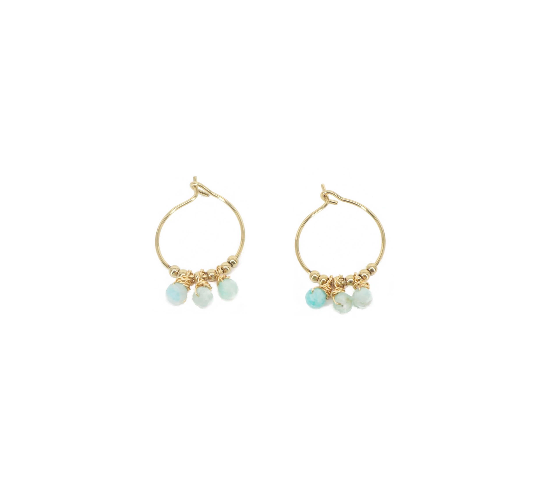 Boucles d'oreilles mini créoles amazonite acier - Zag Bijoux