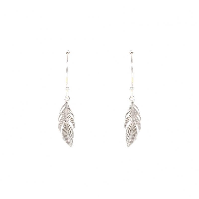 Boucles d'oreilles plume en argent - Les créations de Lili