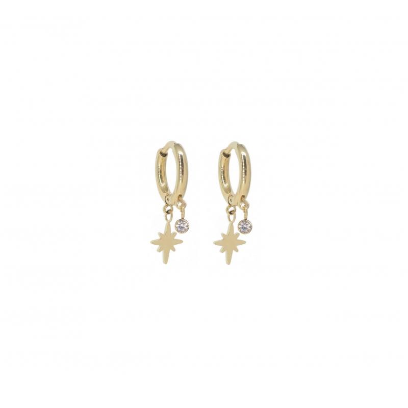 Boucles d'oreilles mini créoles boussole en acier jaune - Zag Bijoux