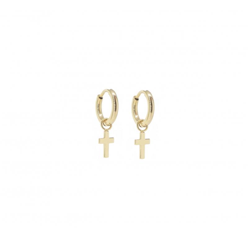Boucles d'oreilles mini créoles croix en acier jaune - Zag Bijoux