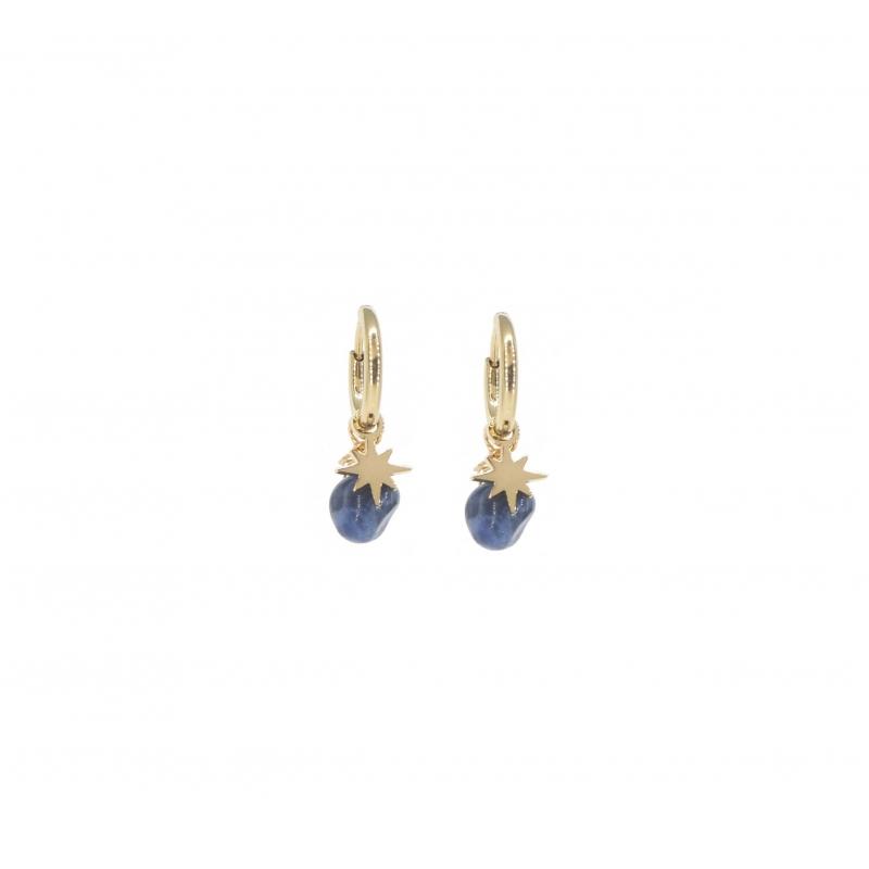 Boucles d'oreilles mini créoles boussole lapis lazuli en acier jaune - Zag Bijoux