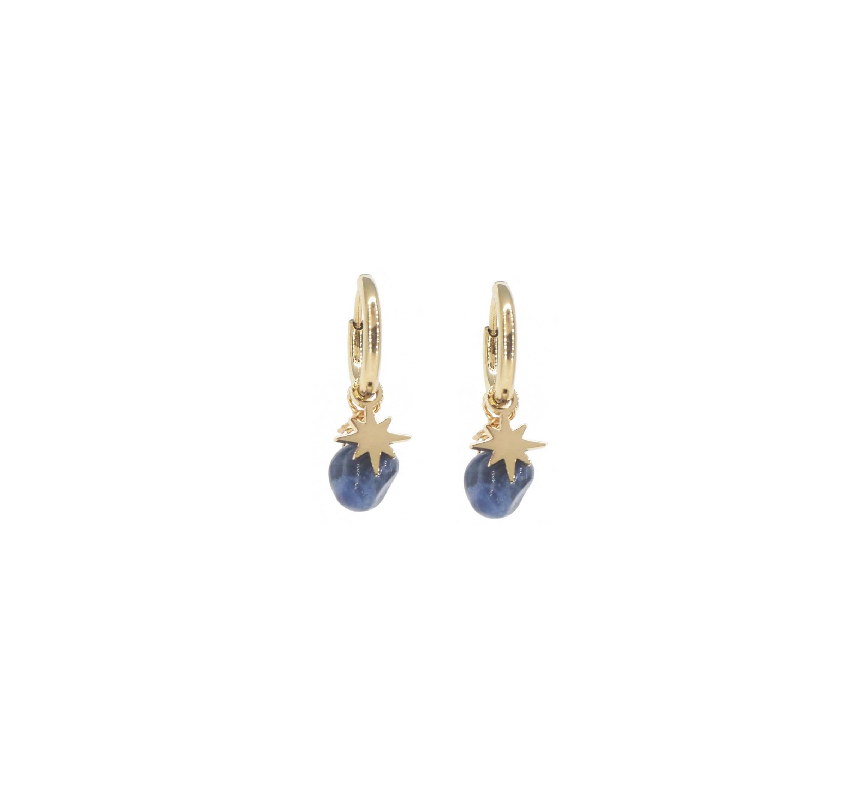 Boucles d'oreilles créoles boussole lapis lazuli - Zag Bijoux