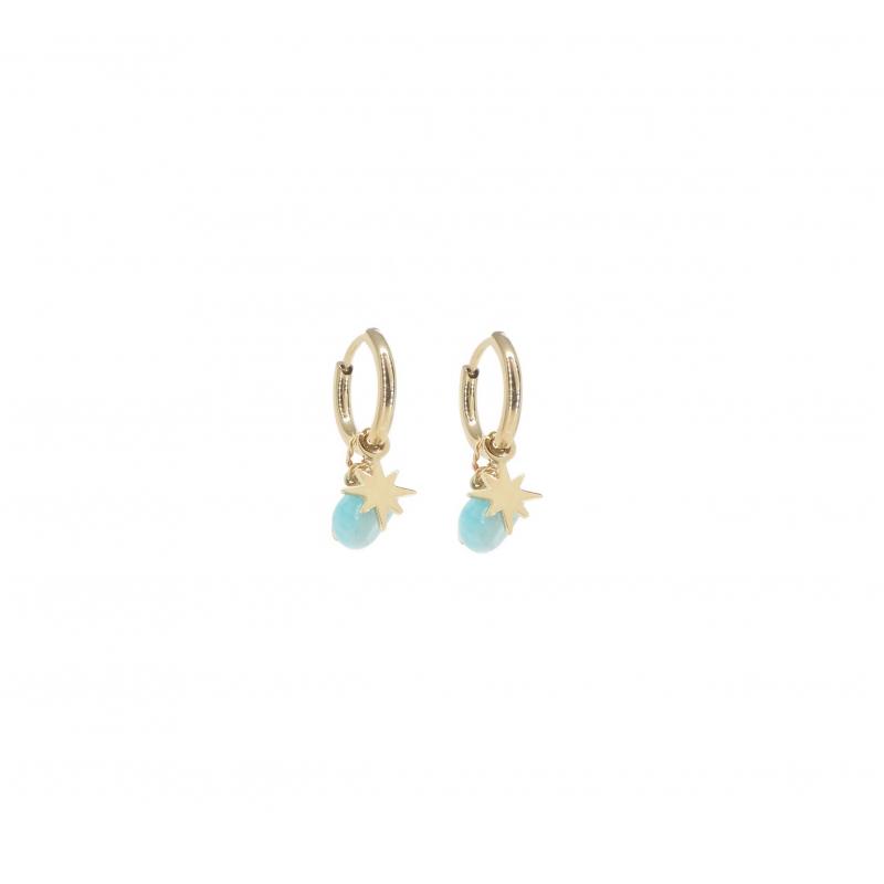 Boucles d'oreilles mini créoles boussole amazonite en acier jaune - Zag Bijoux