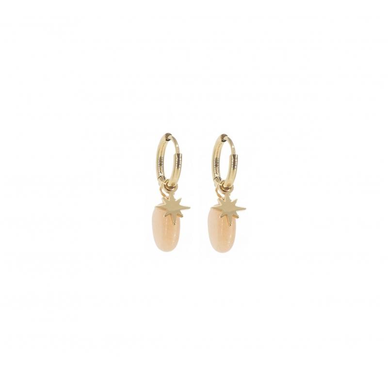 Boucles d'oreilles mini créoles boussole héliolite en acier jaune - Zag Bijoux