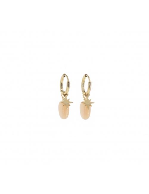 Heliolite compass gold hoop earrings - Zag Bijoux