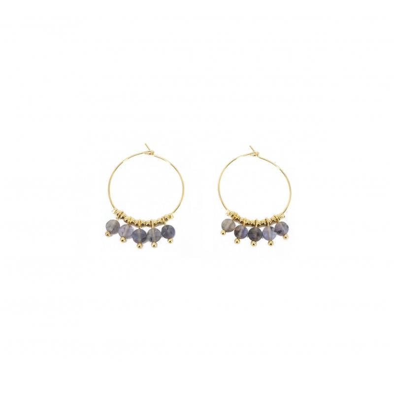 Boucles d'oreilles créoles pampilles sodalite en acier jaune - Zag Bijoux