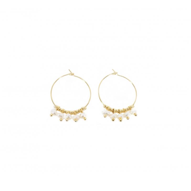 Boucles d'oreilles créoles pampilles perle blanche en acier jaune - Zag Bijoux
