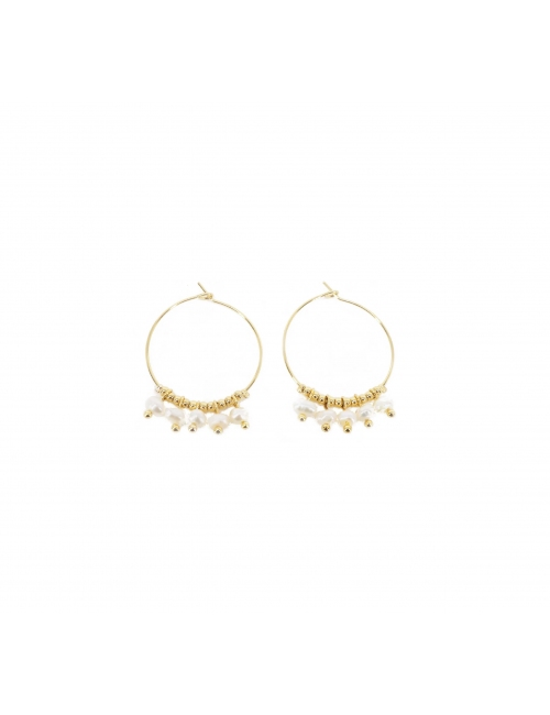 Lina agate gold hoop earrings - Zag Bijoux