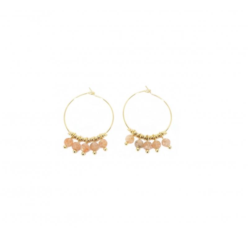 Boucles d'oreilles créoles pampilles héliolite en acier jaune - Zag Bijoux