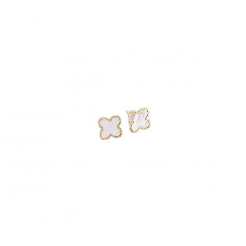 Boucles d'oreilles clous trèfle nacré en acier jaune - Zag Bijoux