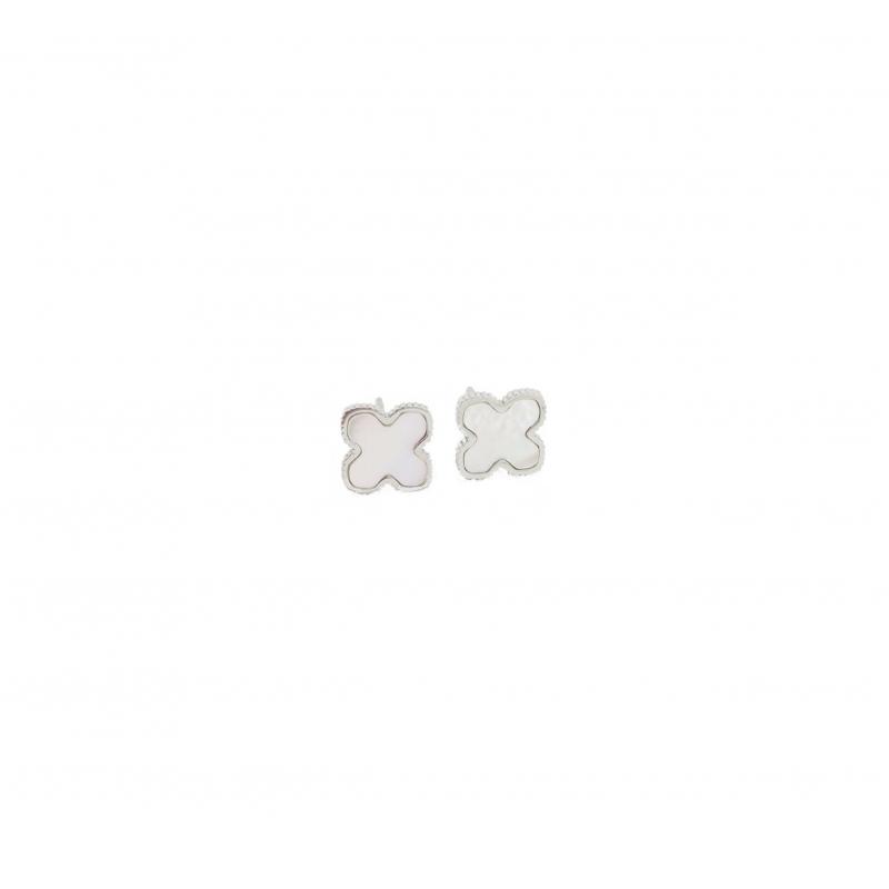 Pearl clover silver stud earrings - Zag Bijoux