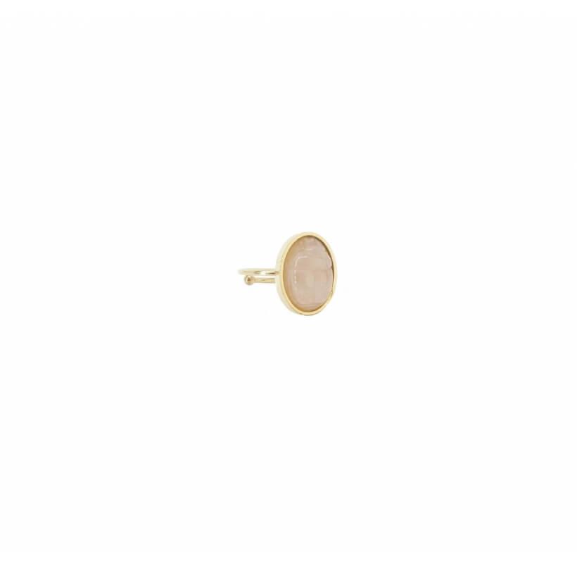 Bague cabochon scarabée quartz rose acier - Zag Bijoux - Zag Bijoux