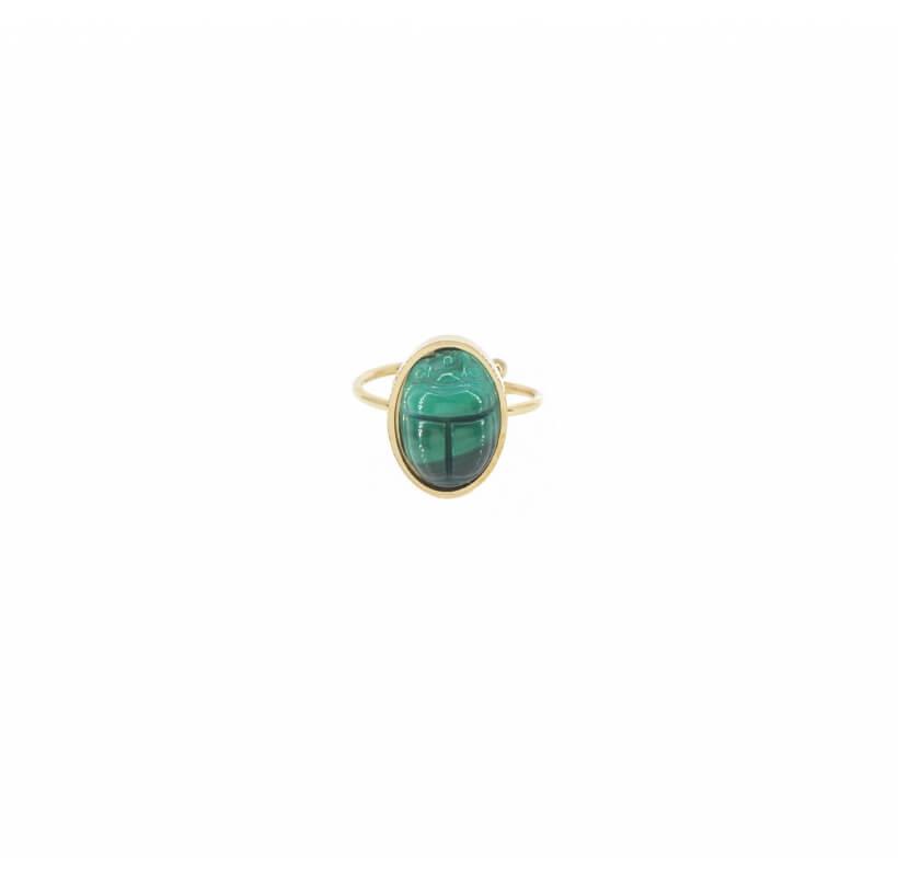 Bague cabochon scarabée malachite acier - Zag Bijoux