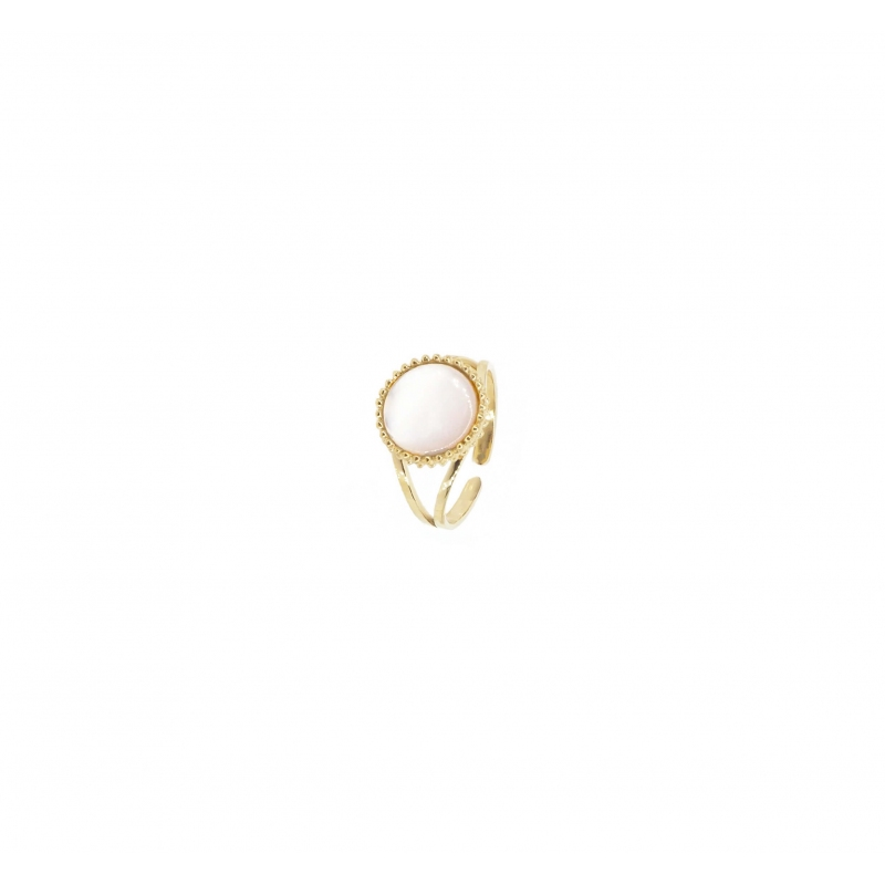Pearl pastille gold ring -...