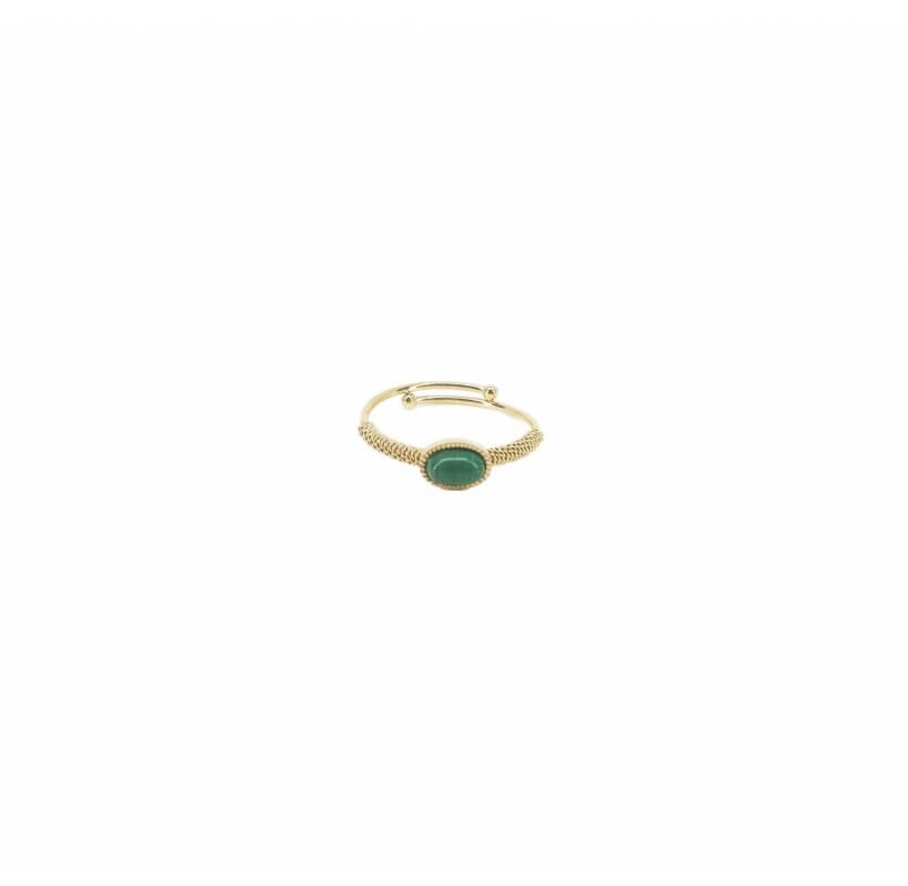 Bague ovale stone malachite en acier en jaune - Zag Bijoux