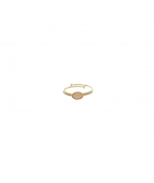 Bague ovale stone héliolite en acier en jaune - Zag Bijoux - Zag Bijoux