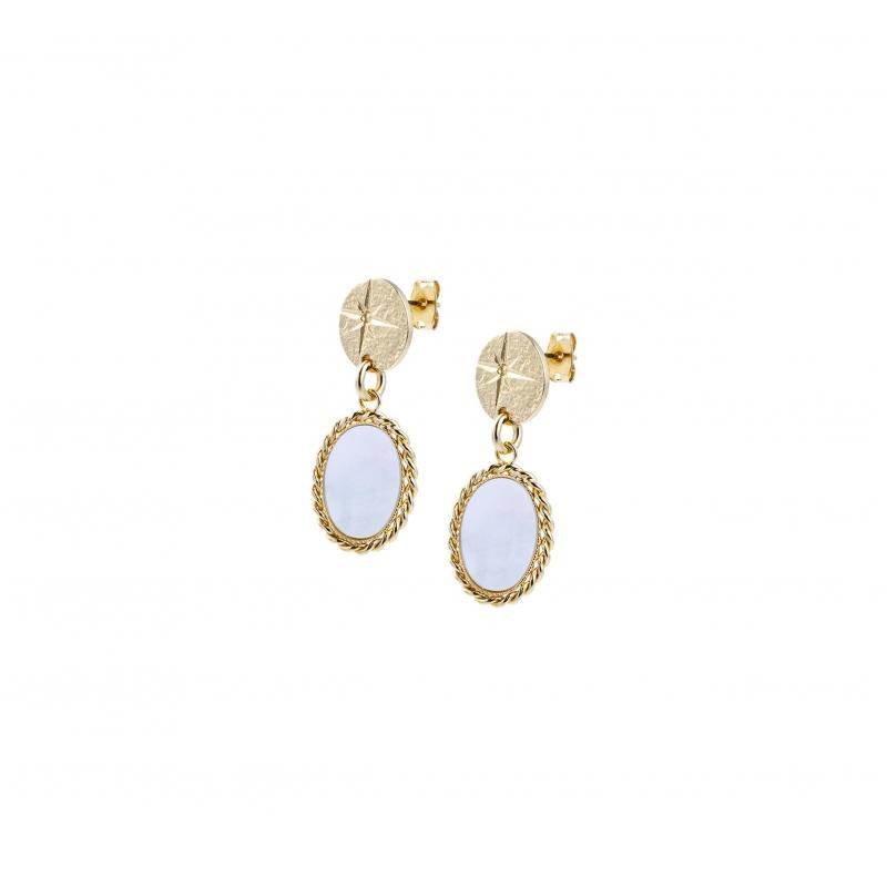 Pearl shine gold earrings -...