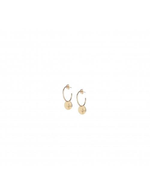 Boucles d'oreilles créoles étoile mini en plaqué or - Lovely Day
