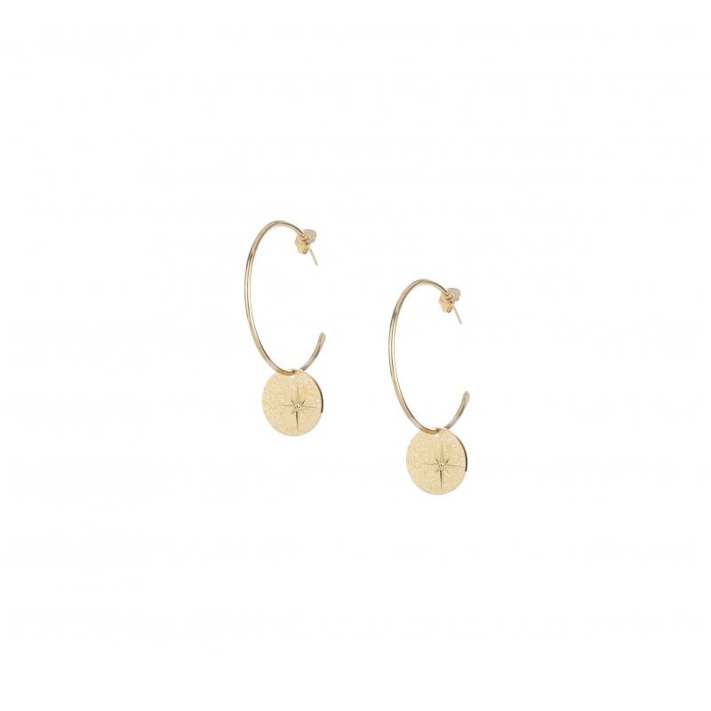 Star gold hoop earrings -...